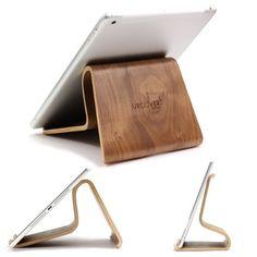 [TOP] Designer Tablet Ständer Original Urcover® Echt Holz Ständer [DEUTSCHER FACHHANDEL] Tablet Halterung für iPad Air 1|2, Galaxy Tab 1,2,3, S, 8.5, 10.5, 10.4, 10, iPad 2|3|4 Retina Dunkel Braun 34,90€