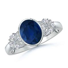 Love this Jewelry Style from Angara! Oval Blue Sapphire and Diamond Vintage Ring With Butterfly Milgrain