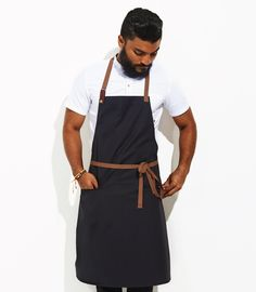 Cotton and Leather apron in Navy is water proof and spill proof so it's perfect so the amateur cook or the professional chef. $85 plus shipping.