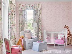 Pink-and-green floral draperies add a touch of elegance to the sweet space for a little girl. - Photo: Emily Jenkins Followill / Design: Carolyn Griffith