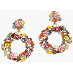 J.Crew Colorful floral hoop earrings ($65) ❤ liked on Polyvore featuring jewelry, earrings, colorful jewelry, multi color earrings, colorful earrings, multi color hoop earrings and twisted hoop earrings