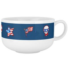 Patriotic Design 4th of July Party / Flag Day / Patriot Day / Any Occasion Soup Mugs. Matching cards , postage stamps and other products available in the Holidays / 4th of July Category of the Mairin Studio store at zazzle.com