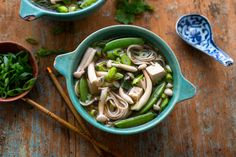 Fresh enoki mushrooms are small thin-stemmed mushrooms with a small cap They are widely available now in supermarkets and very nice in a noodle bowl A noodle bowl makes for a comforting, filling winter meal and is easily put together