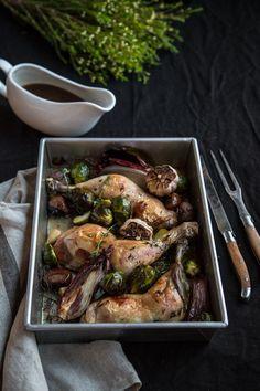Roast Garlic Chicken With Chestnuts And Sticky Marsala Sauce