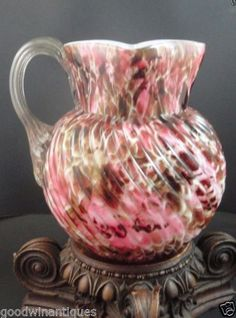 Antique Bohemian Harrach Pink Spatter & Embossed Spiral Rib Art Glass Pitcher in Antiques, Decorative Arts, Glass, Pitchers | eBay
