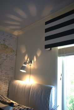 Boyu0027s Room Inspiration: Wooden Valance Padded And Covered With Striped Ikea  Fabric (in Lieu