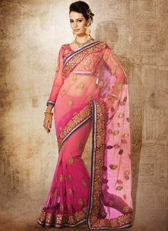Exuberant #Pink Shaded Net #Saree
