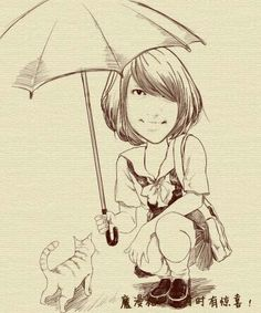 Umbrella girl with cat