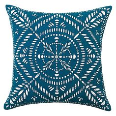 Embrace the elegance of bohemian styling with the detailed print on the cotton Kadiri Cushion from Rapee in your home.