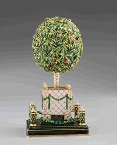 Bay Tree Faberge Egg with Colorful Crystals