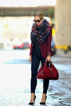 Pair a deep red blazer with plaid for the perfect fall look.
