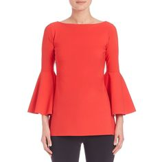 La Petite Robe di Chiara Boni Bell Sleeve Top ($415) ❤ liked on Polyvore featuring tops, apparel & accessories, aragosta, red top, 3/4 sleeve boatneck top, boat neck 3/4 sleeve top, bell sleeve tops and bateau neckline tops