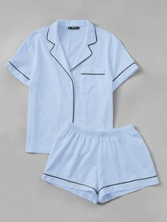 To find out about the Contrast Piping Pocket Front Shirt & Shorts PJ Set at SHEIN, part of our latest Pajama Sets ready to shop online today! Cute Pajamas, Pajamas Women, Satin Pyjama Set, Pajama Set, Cute Sleepwear, Sleepwear Women, Womens Pyjama Sets, Nightgowns For Women, Lingerie Outfits