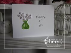 thinking of you quilled flower vase by APaperLifeOriginals on Etsy, $6.50