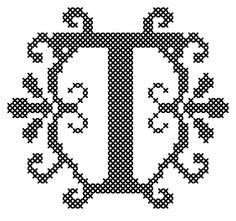 Etsy の Letter T Cross Stitch/Cross Stitch by oneofakindbabydesign