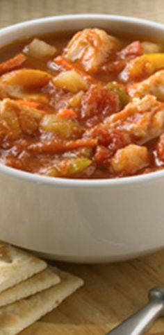Chunky tomato chowder with tender white fish