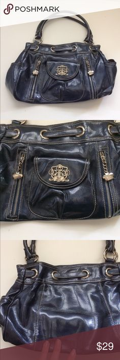 "Kathy Van Zeeland Navy Blue Metallic Satchel Kathy Van Zeeland Blue Metallic Satchel Bag. Really cool details with silver hardware. Excellent condition with with some light wear in lining. 13"" by 9.5"" Offers always warmly received. Kathy Van Zeeland Bags Satchels"