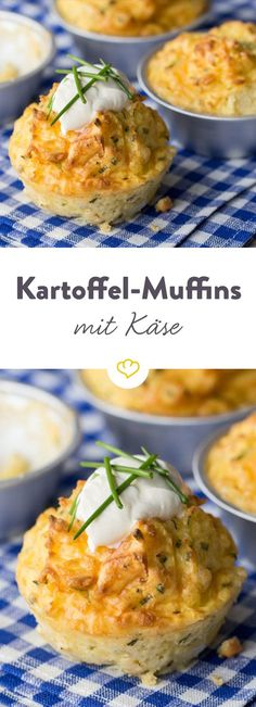 The hearty muffins are the ideal side dish for hearty home cooking. Pinner Kartoffel-Käse-Muffins Im Simple Muffin Recipe, Healthy Muffin Recipes, Healthy Muffins, Veggie Recipes, Baby Food Recipes, Savory Muffins, Snacks Recipes, Muffins Sains, Cheese Muffins