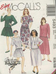Vintage 1990's Misses Drop Waist Dresses in two lengths Mccalls 5493 Size 10-12 UNCUT
