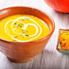Spiced Roast Pumpkin and Chickpea Soup Pumpkin Recipes, Food Presentation, Cantaloupe, Food Porn, Curry, Veggies, Pudding, Tasty, Healthy Recipes