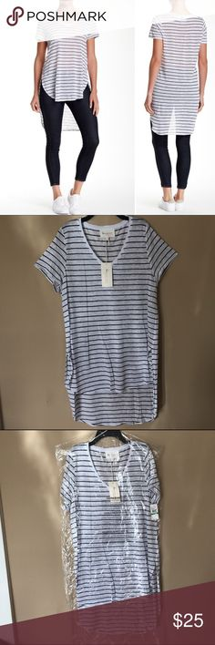 Vince Camuto Stripe V-Neck Tee Brand new with tags. 100% linen. Gentle wash recommended. White with navy stripes. Two by Vince Camuto Tops Tees - Short Sleeve