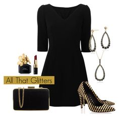 """All That Glitters"" by bluenile ❤ liked on Polyvore featuring Blue Nile, Dolce&Gabbana, Rachel Zoe, MICHAEL Michael Kors, Bobbi Brown Cosmetics, Marc Jacobs, Heels, LBD and holiday"