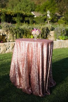 Rose gold glittery table cloths for outdoor cocktails