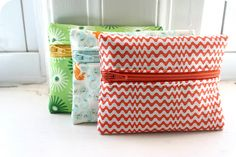 Cute little zip bags to store the little odds and ends.   Eleven Simple Things to Sew This Weekend