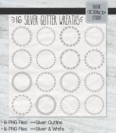 Drawn Frames, Wreath Drawing, Decorative Borders, Wedding Labels, Frame Wreath, Floral Border, Silver Glitter, Hand Drawn, How To Draw Hands