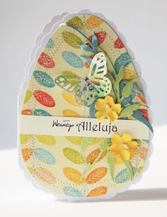 handmade Easter card from scrappassion ... egg-shaped ... pretty patterned paper and scalloped edge base ...