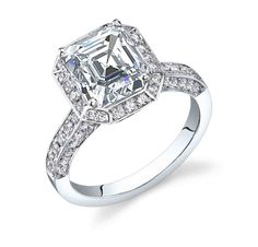 3 Sided Pave Engagement Ring
