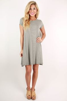 Glamorous Life Stripe Dress in Grey – Impressions Online Women's Clothing Boutique