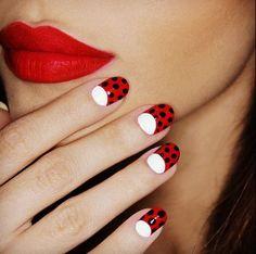 Ladybug half moon manicure