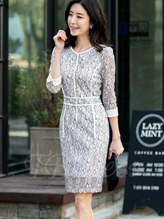 Floral Three-Quarter Sleeve Women's Sheath Dress (Plus Size Available)