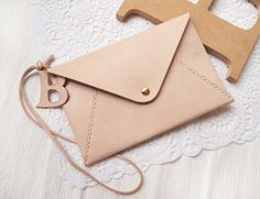 Personalized Envelope Clutch with Initial Letters - Leather - Nude - Hand Stitched - Front Page of Etsy