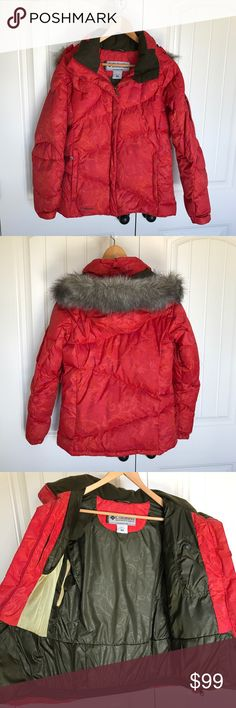 Columbia Titanium Fur Trimmed Down Jacket Columbia's Titanium Purring Tiger Jacket for Women  This jackets purrrfect with its waterproof material, faux fur hood lining, and interior pockets. It'll keep you warmer than a cat in her favorite sun spot.  Waterproof / breathable Removable, adjustable storm hood Underarm venting system Removable faux raccoon fur Adjustable, snap back powder skirt Interior pockets 550 down fill Radial sleeve Articulate elbows MPN: SL4167 Condition: excellent, only…