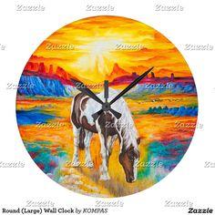 Round (Large) Wall Clock #alanjporterart #kompas #originaldesign #beautiful #animal #message #zazzle #beautifulpicture #horse #sunset #product #time #gift #present #birthday #home #clock