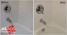 before & after pictures of cleaning shower mold, resealing grout, & removing old caulk.
