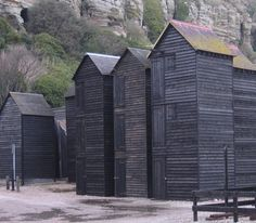 fishermens huts, hastings, england…reminds me of Scott Pasks design for Peter Grimes Vernacular Architecture, Space Architecture, Architecture Details, Hastings England, Timber Cladding, Small Buildings, Chula, East Sussex, Black House