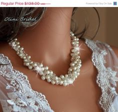 30 Sale ends Monday Bridal Pearl Necklace by OliniBridalJewelry, $96.60