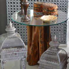 Mesa Lateral de madeira maciça feitas de tronco de árvore, tora, com design contemporâneo Rústico Oriental Furniture, Wood Detail, Wood Slab, Wood Table, Wood Art, Diy Furniture, Sweet Home, Diy Projects, Woodworking