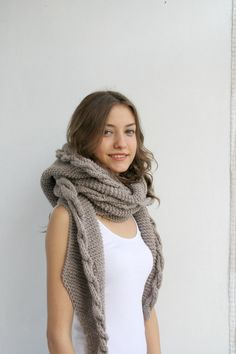 Hand Knit Milky Brown Wool Hooded Scarf / Cabled by denizgunes