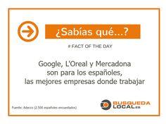 Google, L'Oreal y Mercadona están de enhorabuena ya que son las empresas más deseadas por los españoles para trabajar y en las que más felices serían desarrollando su actividad profesional