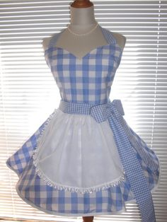 Retro French Maid Apron Costume Apron Blue by ArtsyCraftsyBoutique