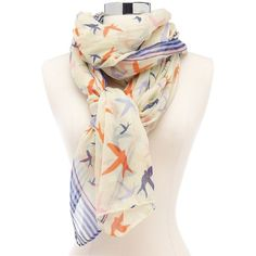 Nautical Bird Print Scarf ($9.99) ❤ liked on Polyvore