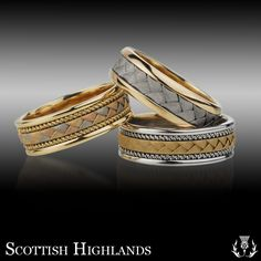 his wedding band is the middle one scottish highlands wedding rings style ben nevis - Scottish Wedding Rings