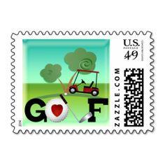 I Love Golf Postage Stamps