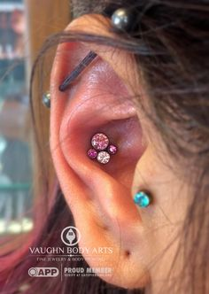 Our latest order of anatometal clusters are moving fast. Joanna got a new conch piercing with this lovely cluster, a combination of different shades of pink gems in an anodized pink finish. We still have some gorgeous options left, so come pick out your favorite. vaughnbodyartsMonterey, CA