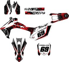 2013 - 2016 Honda CRF250 - CRF450 MX graphics kit. (Mechanical skull) kits by Fireblade Graphics and signs. like us on Facebook and visit our website to purchase yours.