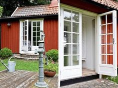 Dubbeldörr Red Cottage, Cozy Cottage, New England Hus, Old Farm Houses, Swedish House, Old Doors, Scandinavian Home, Outdoor Gardens, Beautiful Homes